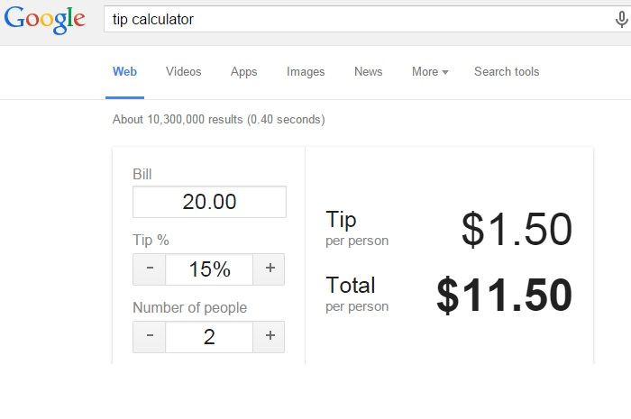 google tip calculator