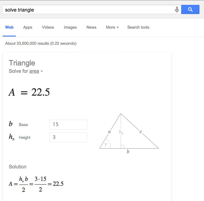 solve triangle google search