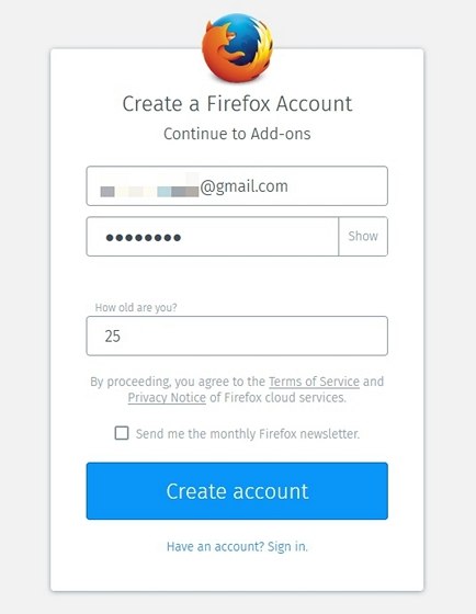 create firefox account