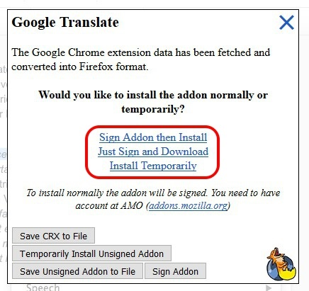 google extension converted to firefox