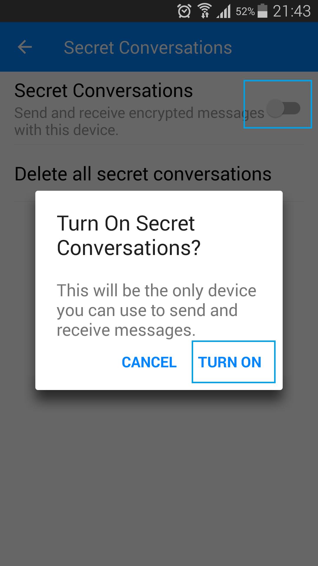 turn on secret conversations